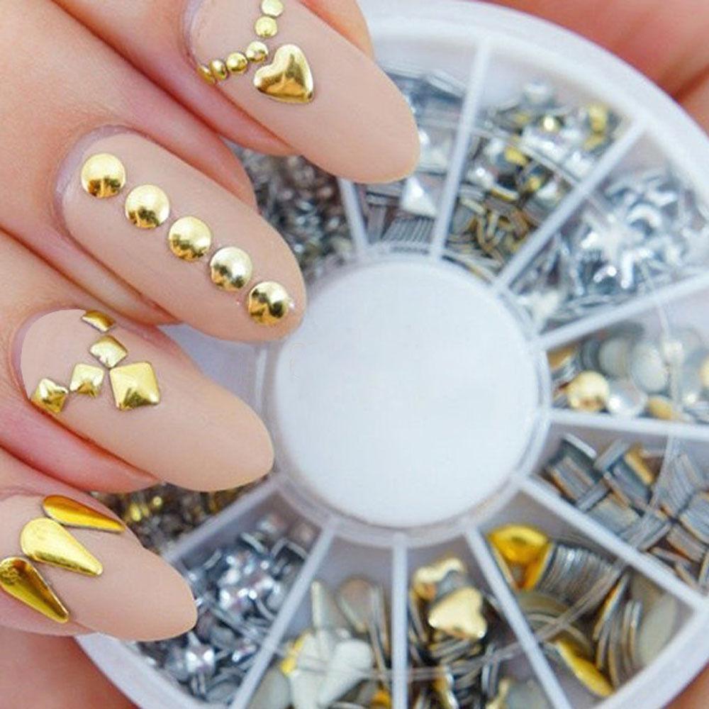 1 مسمار العجلة الذهبية / الفضية المعدنية الفن 3D DIY زينة ديكور الراين نصائح لامع الأزرار مسمار ملصقا