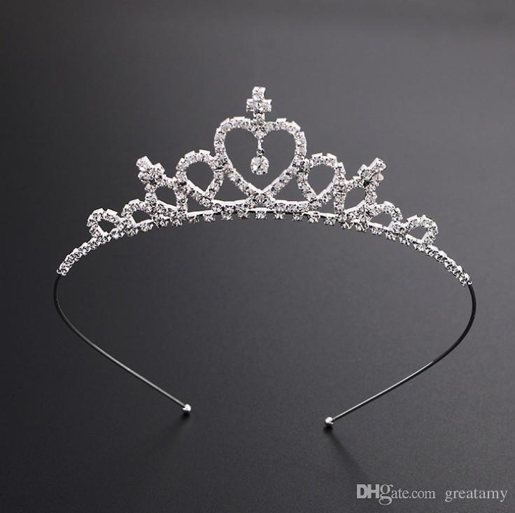 Niños muchachas de las mujeres de la horquilla de la princesa corona cristalina de plata del aro del pelo de la joyería nupcial del partido tiara del desfile de la tiara del diamante diadema accesorios para el cabello
