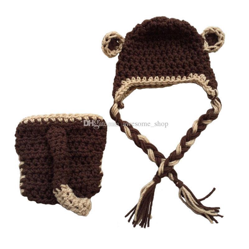 الكروشيه الطفل القرد زي ، اليدوية حك بيبي بوي فتاة القرد قبعة غطاء حفاظه مجموعة ، الطفل الحيوان الزي ، الوليد الرضع هالوين صور الدعامة