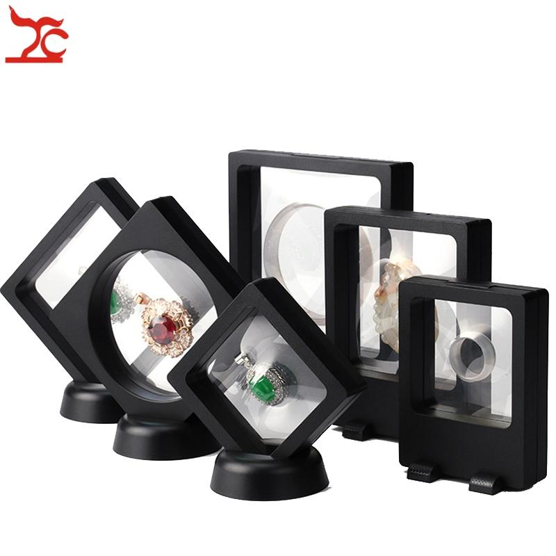 6 Pcs PET Membrane Jewelry Display Stand Black Earring Bracelet Necklace Ring Organizer Clear Accessories Display Box