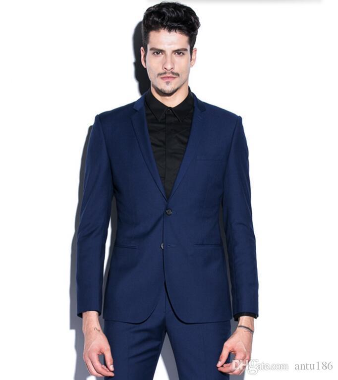 Yeni varış erkekler suit moda erkekler düğün smokin siyah yaka tek göğüslü balo suit smokin sağdıç suit suits (ceket + pantolon)