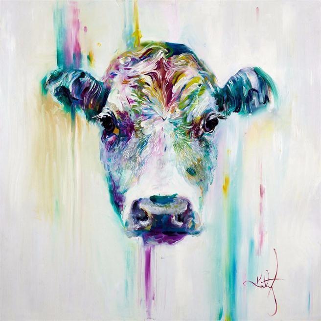 Dibujos animados enmarcados Cool color vaca, pintado a mano de alta calidad decoración de la pared arte animal abstracto pintura al óleo lienzo múltiples tamaños opciones R47