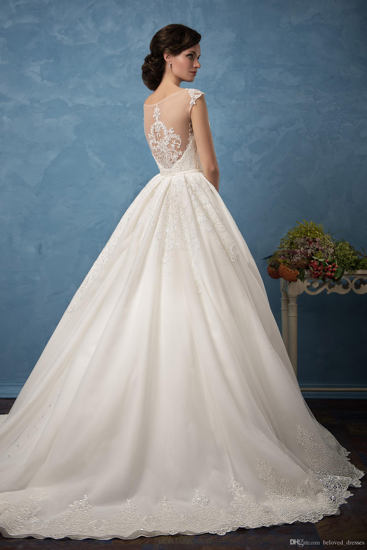 2018 Overskirts Wedding Dress Amelia Sposa Cecilia Lace Ball Gown ...