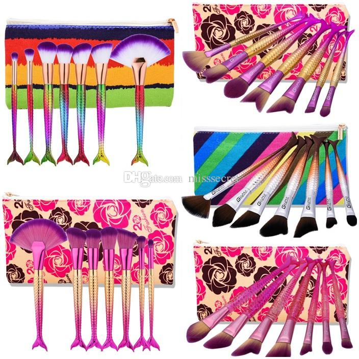 7pcs Mermaid Makeup Brushes Sets for Foundation Powder Contour Fish Scales Multipurpose Beauty Rainbow Cosmetic Make Up Brush Kits with Bag