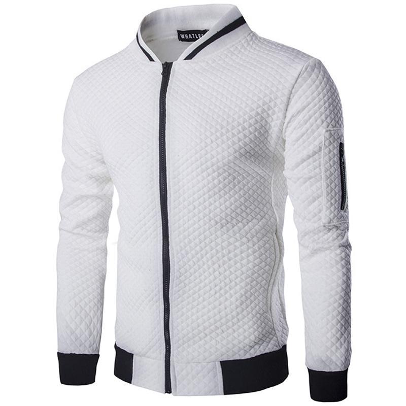Vente en gros-Nouvelle Tendance Blanc Veste Hommes Veste Homme 2016 Bomber Hommes De Mode Slim Fit Argyle Zipper Varsity Veste Casual Veste Pour L'automne