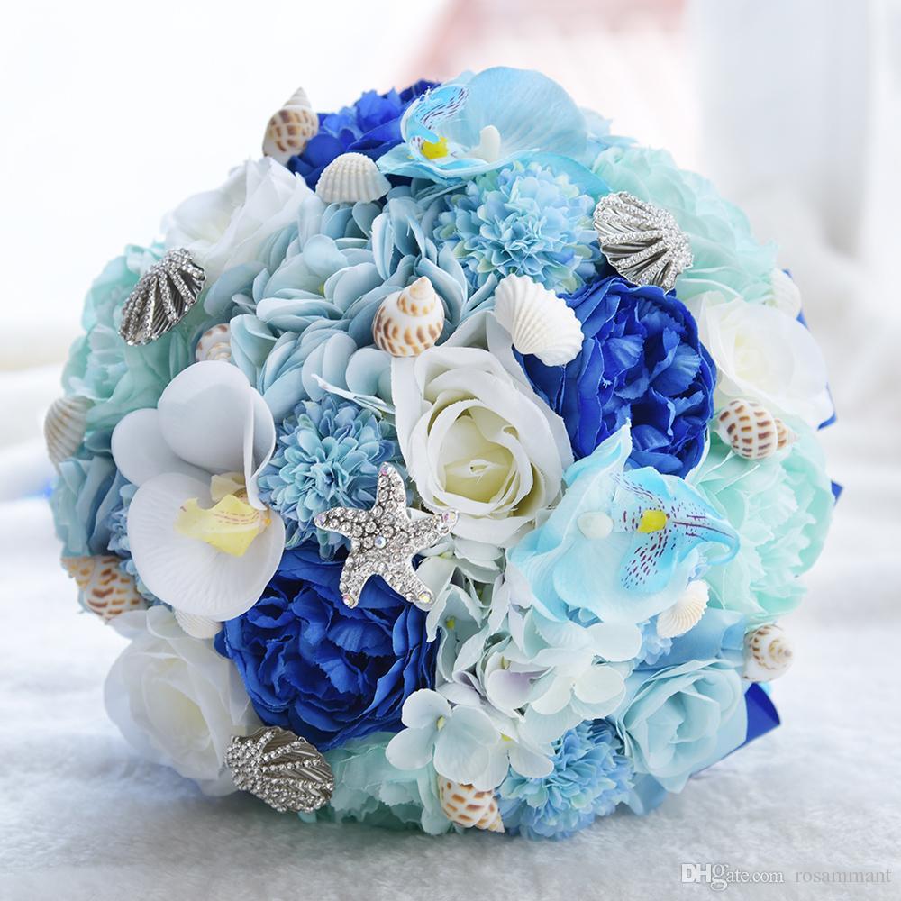 2019 seashell wedding bouquet silk wedding flowers hydrangea garden  bouquets blue beach bouquet starfish bridal bouquet designer flowers fake  flowers