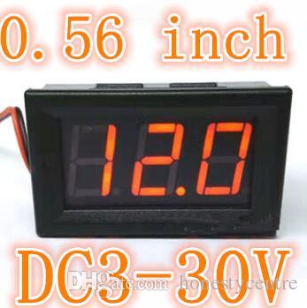 10pcs 0.56 'DC 3-30V portatile digitale a due fili Voltmetro a luce rossa Pannello LED Volt Meter Rilevatore di tensione del monitor della batteria