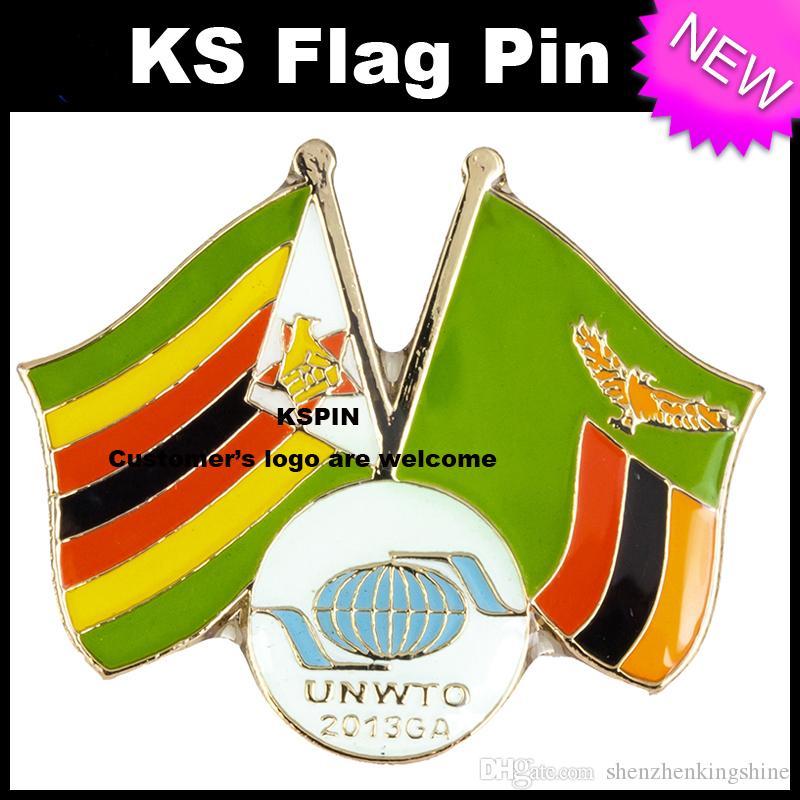 Zimbabwe Zambia Flag Badge Flag Pin 10pcs un sacco Spedizione gratuita 0010