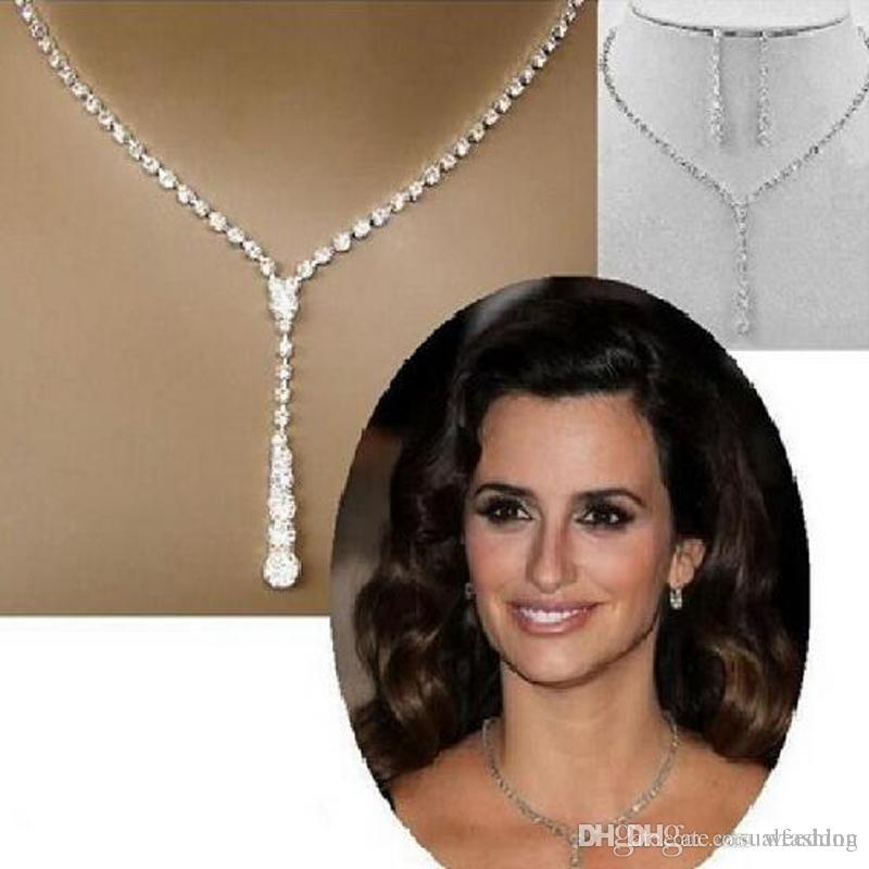 Il più economico brillanti gioielli da sposa elegante prom oro argento strass cristallo gioielli birdal nuovo bling collana e accessori orecchino