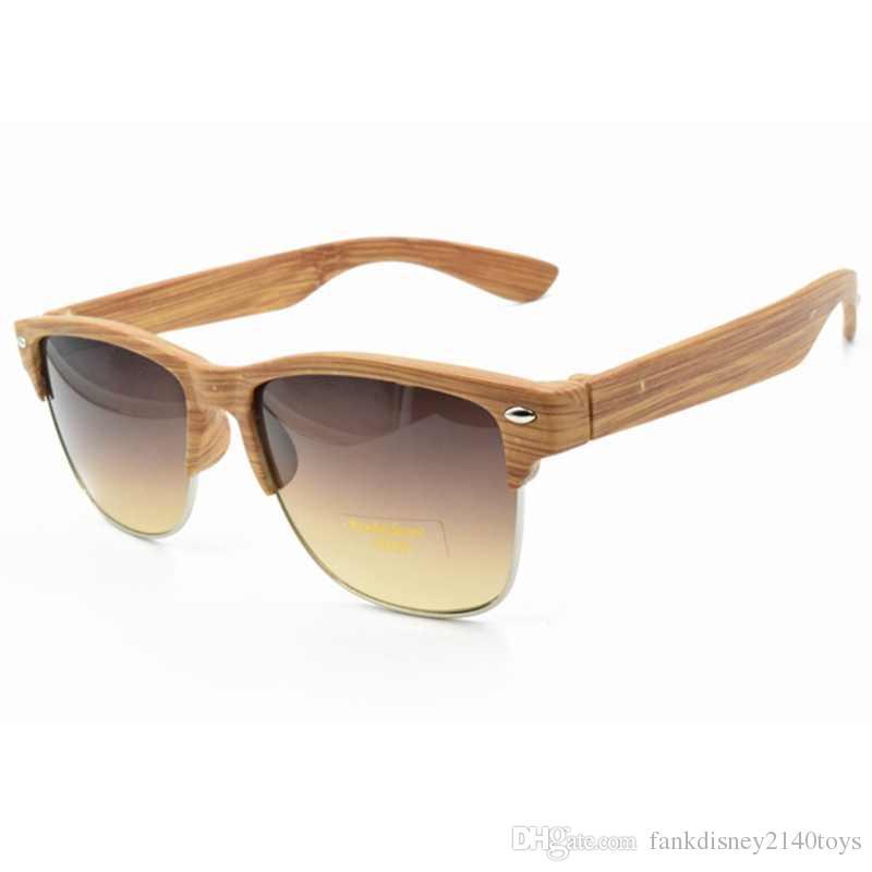 plastic wood grain designer sunglass women half frame sunglasses men vintage sun glasses oculos de sol - Wood Framed Sunglasses