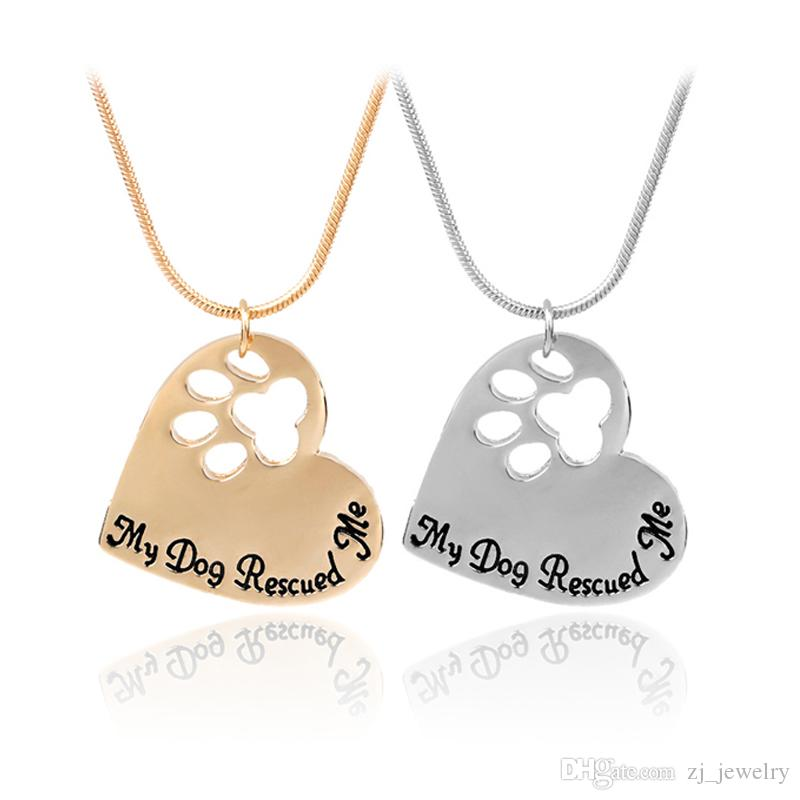 New  Paw Print On Your Heart Silver Animal Lover Pendant Necklace