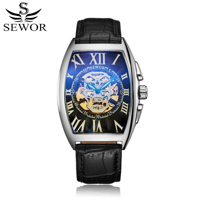 SEWOR Fashion Mens Leather Band Relojes automáticos de cuerda automática Relojes de pulsera mecánicos de lujo para hombre Esqueleto Relojes de pulsera negros SWQ55