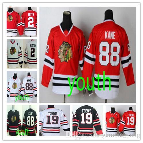 Fashion Youth Chicago # 88 Patrick Kane # 19 Jonathan Toews # 2 Duncan Keith Green Black Red White Bambini Blackhawks Hockey Boys Maglie cucite