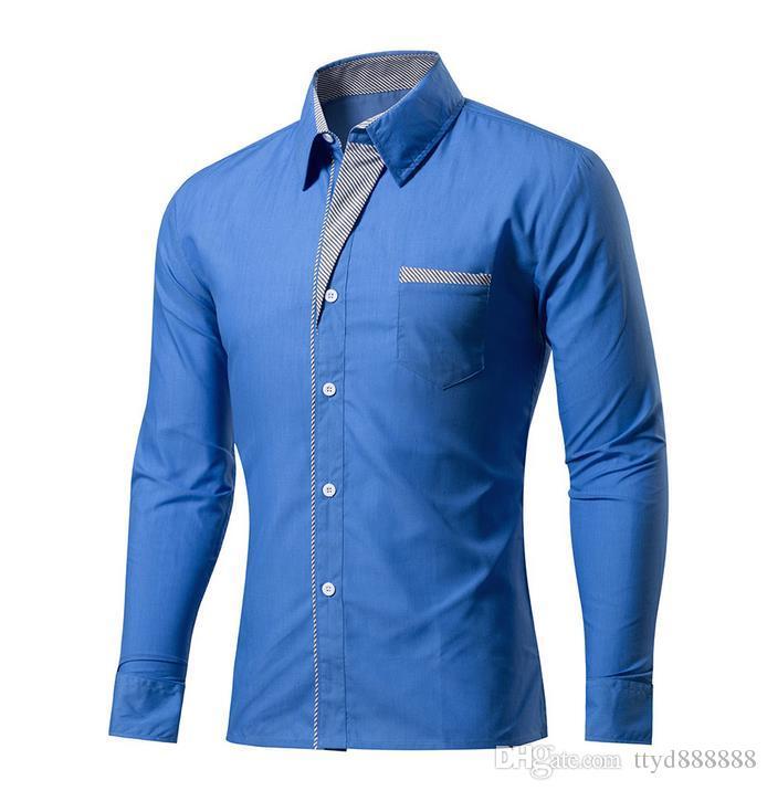 2017 New Spring Mens Shirt Long Sleeve Slim Fit Clothing Man Dress Shirts High Quality solid classic dress shirt S - XXXXL. Free shipping