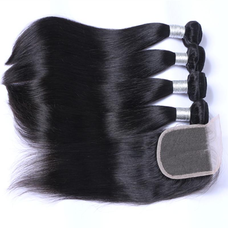 Malaysian human Hair With Closure Unprocessed Human Hair With Lace Closure 4pcs per lot Malaysian Straight Hair With Closure
