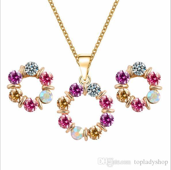 Circle jewelry set Europe and the United States wind colorful crystal jewelry ladies earring necklace set wholesale free shipping