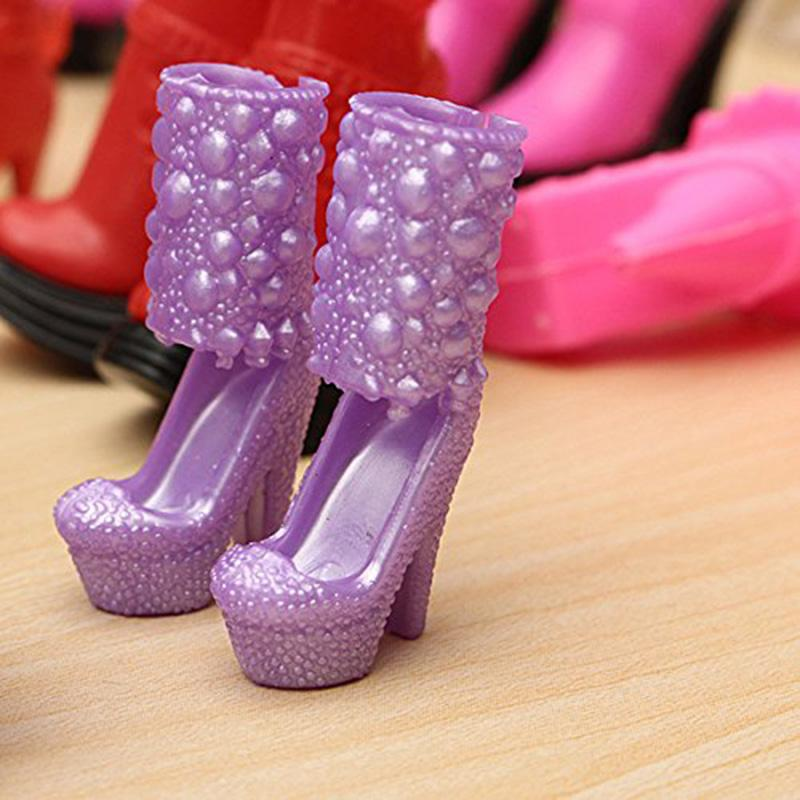 BARBIE SIZE SHOES-PINK HIGH HEEL SHORT BOOTS