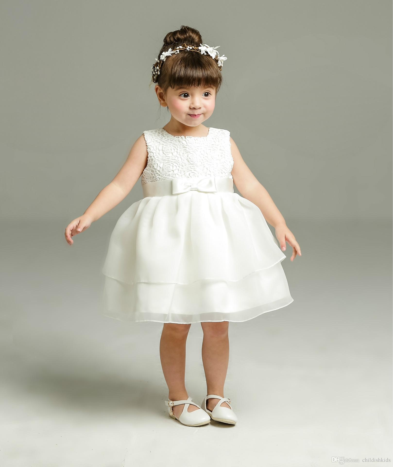 2018 Baby Girl Christening Dress Baby Lace Organza Party Dress Baby