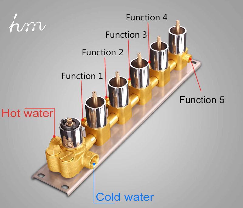 Bathroom Shower Valve Large Water Flow Solid Shower Accessories 5 ways Chrome Brass Panel Diverter Faucet Tap Shower Controller (13)