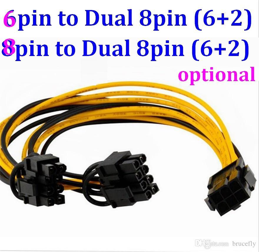 6PIN до двойного 8PIN кабеля 8 PIN-код PCI Express до 2 х PCIE 8 (6 + 2) PCIE 8 (6 + 2) PIN-код женской графики видеокарта PCI-E VGA Splitter HUB кабель питания