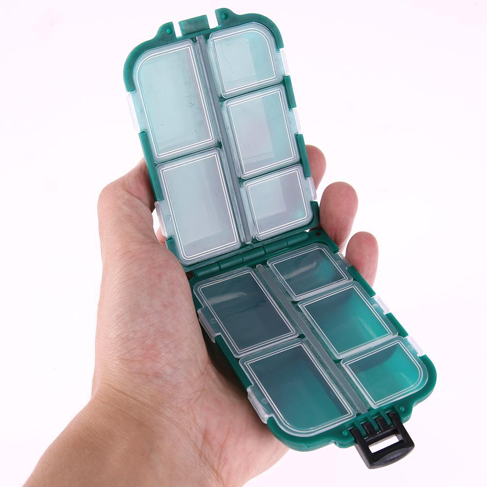 10 Fächer Aufbewahrungskoffer Kunststoff Fischereiköder Löffel Haken Köder Angelschraube Kleine Zubehör Square Fishhook Box