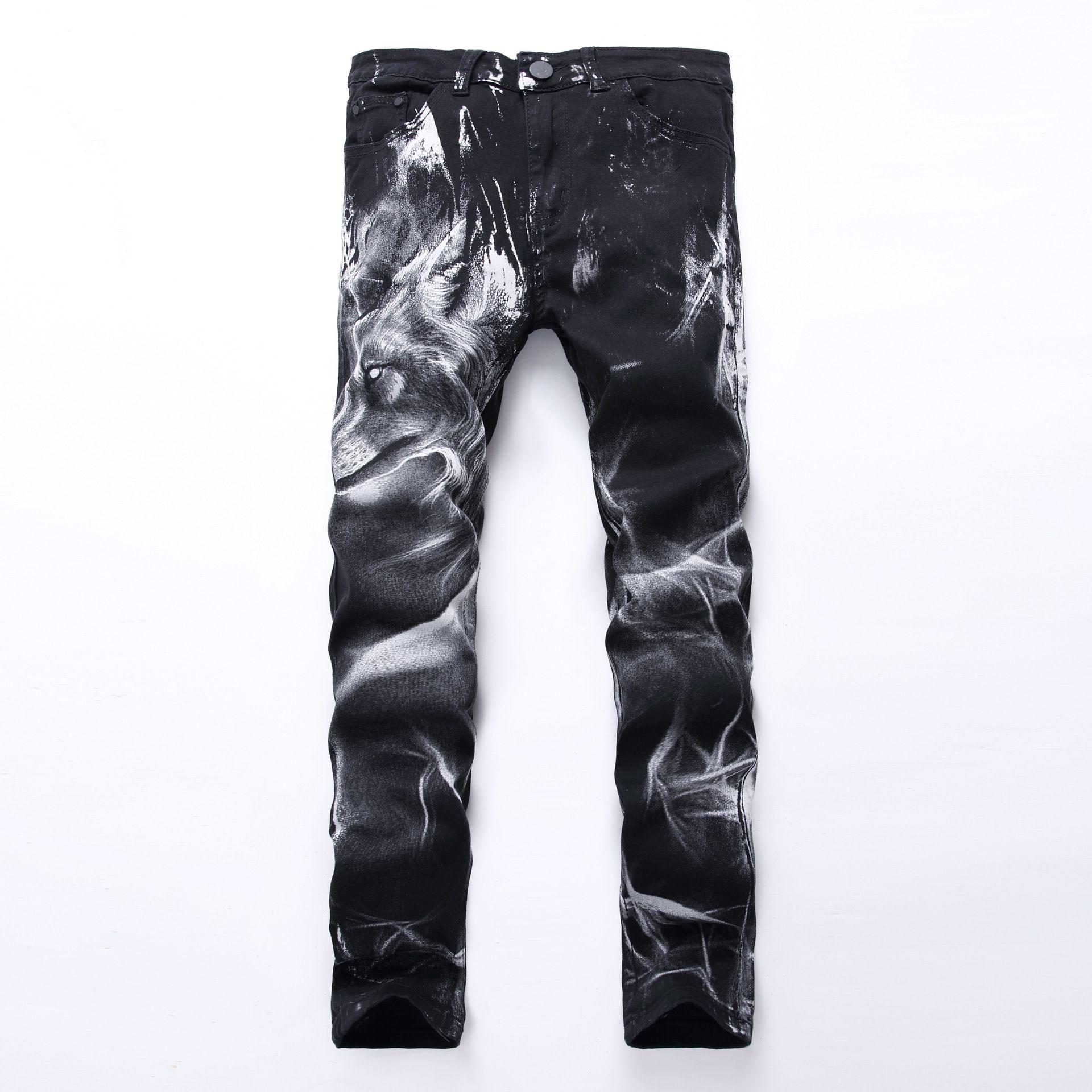 Gros-Hommes Impression Jeans Genou 3D Imprimé Noir Rap Biker Jeans Hommes Hip Hop Lâche Mince Loup Jean Maigre Pour Hommes Denim Pantalon Plus La Taille