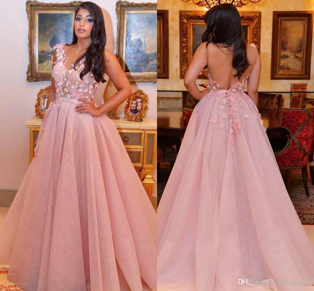 2019 blush rose encolure dégagée robes de soirée en dentelle appliques sexy dos nu une ligne balayage train Dubaï style arabe formelles robes de soirée personnalisées