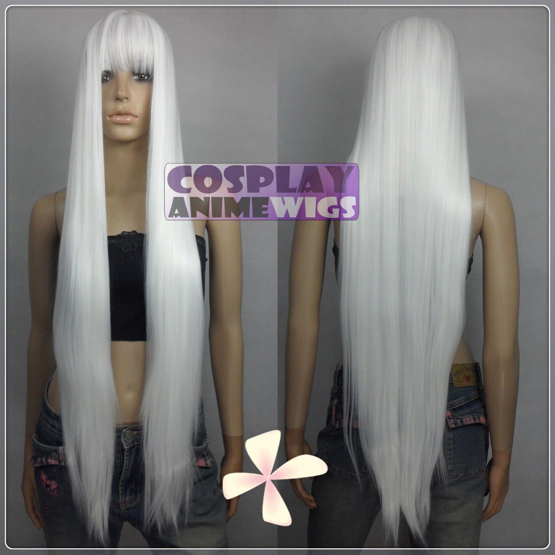 Parrucche lunghe da 100 cm con parrucche sintetiche bianche e lunghe con scoppi VL_101