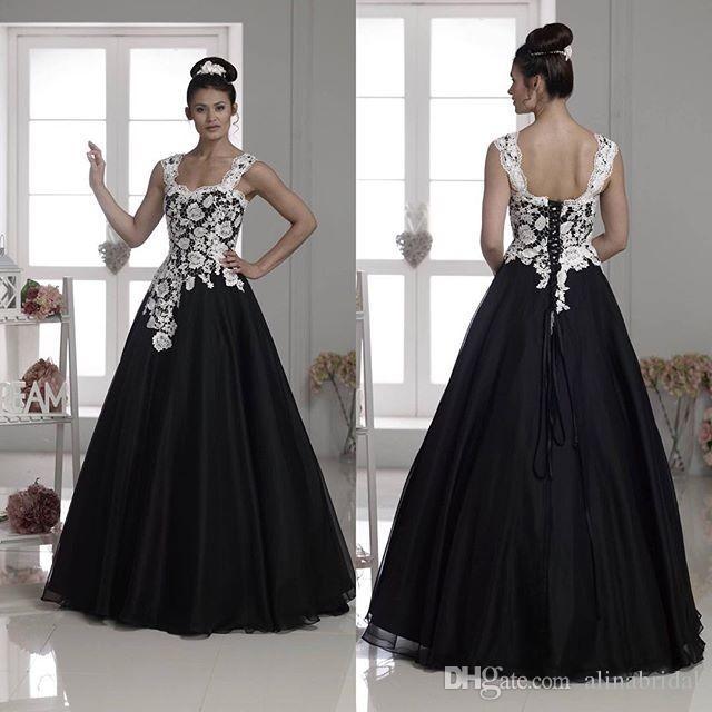2017 vestido de noiva a linha de vestidos de noiva sem mangas branco e preto gótico robe de mariage nova chegada vestidos de noiva venda