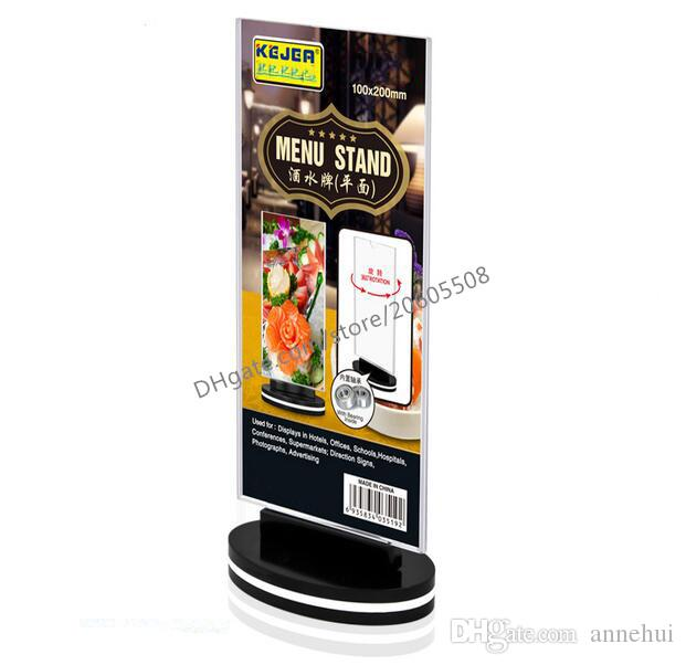 Wholesale 10pcs Rotatable acrylic restaurant Bar menu card display stand Advertising tag sign card double-sided display Desktop Billboard