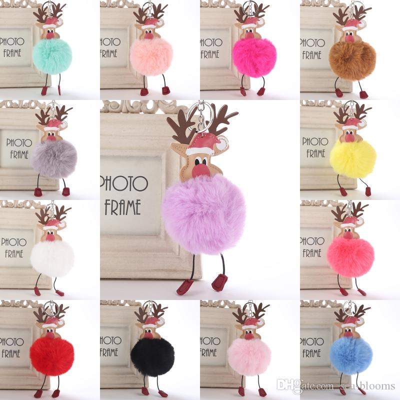 Santa Claus Rabbit Fur Ball Key Chain Xmas Gift Fluffy Keychain Christmas Reindeer Car Key Pom Pom Pendant Jewelry Ornament Free DHL H883F