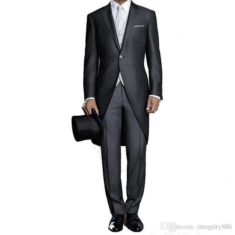 Charcoal Tailcoat Hommes Tuxedos De Mariage Matin Groom Tuxedos Peak Revers Un Bouton Hommes Dîner Prom vêtements (Veste + Pantalon + Cravate + Gilet) 1751
