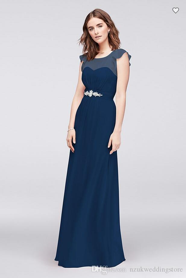 Free Shipping 2018 New Arrival JP2917183 Flutter-Sleeve Chiffon Gown with Crystal Detail Custom Made Bridesmaid Dress
