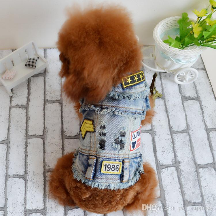 Novo Design Do Vintage Jeans Pequeno Grande Cão de Estimação Roupas Jaqueta Casaco Jeans Personalizado Trajes de Jeans Roupas Para Cães Outerwears