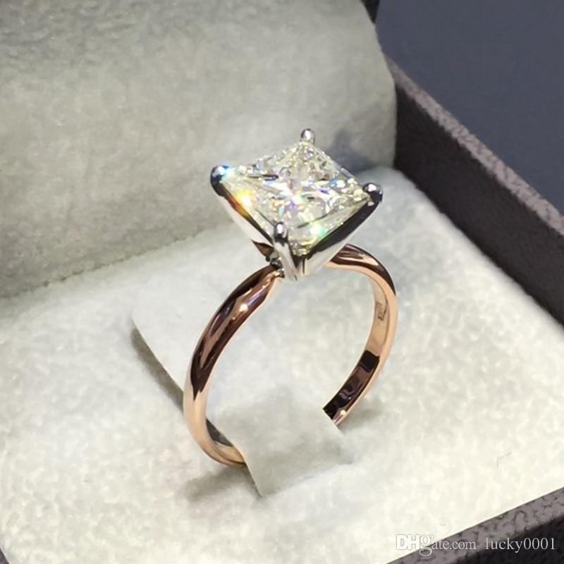 1 قطعة الجديد لون الذهب ساحة الدائري الشكل الأميرة قص خاتم للنساء مهد حجر الزركون زفاف مجوهرات مطعمة خواتم