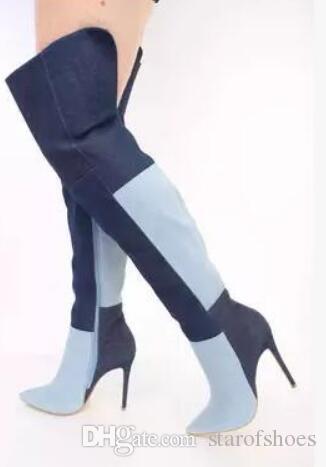 2018 donne sopra il ginocchio alto stivali gladiatore sexy stivali alti coscia tacco sottile Denim bota lungo patchwork dress scarpe da festa