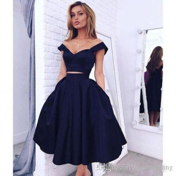 2019 Two Pieces Homecoming Dresses Off The Shoulder Stain Sexy Back Navy Blue A Line Short Graduation Cocktail Wear Dresses