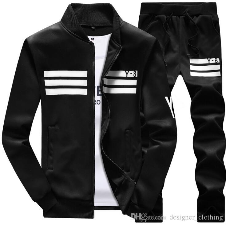 Erkek Eşofman 2018 yeni erkek spor takım elbise rahat uzun kollu beyzbol üniforma ceket Y8 öğrenci kazak erkek Açık eğlence takım elbise