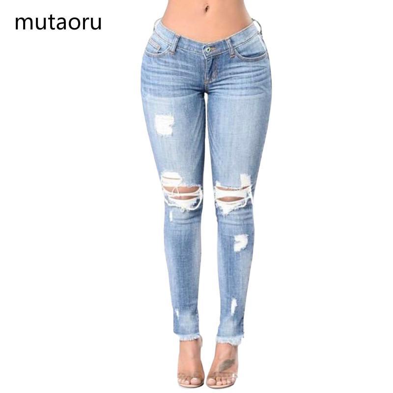 Donna Skinny Slim Jeans a vita bassa femminile Pantaloni a vita bassa con nappe Pantaloni Lady Plus Size Pantaloni grandi Hip Girl elasticità causale Bottom