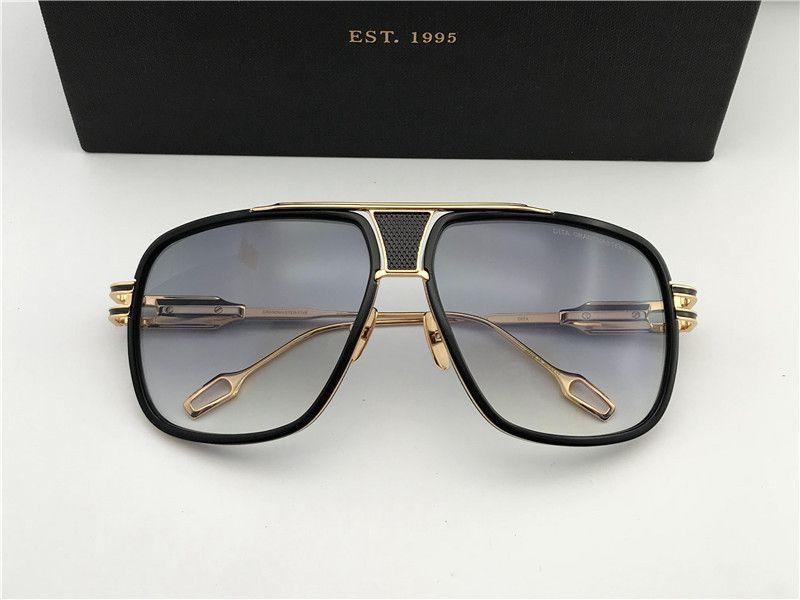 Gözlük Siyah Altın / Kahverengi Erkek / Kadın Güneş Gözlüğü Kutusu DNUM180721-17 Sol Güneş Gözlüğü Vintage Titanyum Gafas de Wxgul