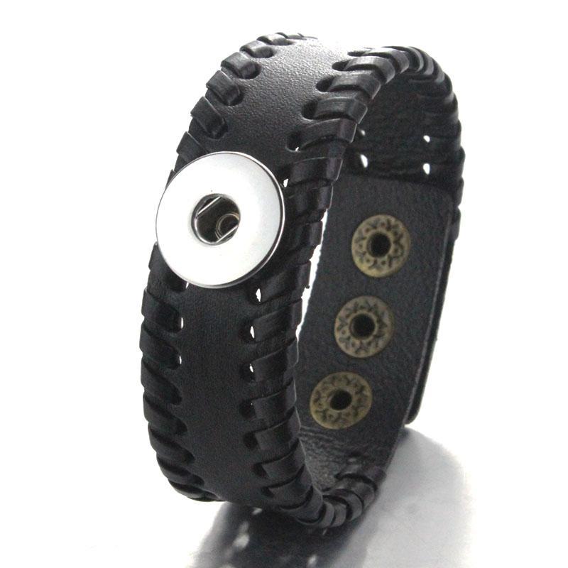 Boom Life 23cm Weave Pulseiras de Couro Snap Fit 18mm Botão Snap Jóias Vintage Bohemian Bracelet para Mulheres Pu Charms 040118