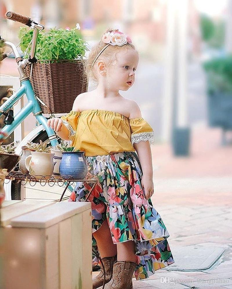 girls kids Two Piece suit Baby girls kids clothes New Summer Girl Dress Set Lace Collar Sleeve Floral Skirt Set