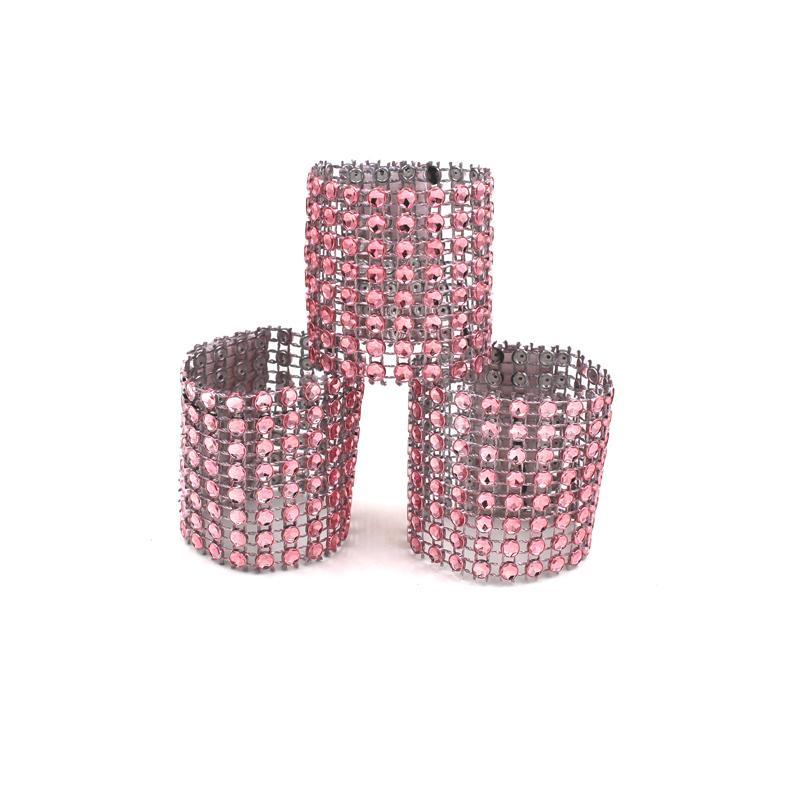 Yüksek Kaliteli 50Pcs / Lot Plastik Rhinestone Wrap Peçete Halkası Peçeteler Toka toka Otel Düğün Masa Sandalye Dekorasyon Malzemeleri