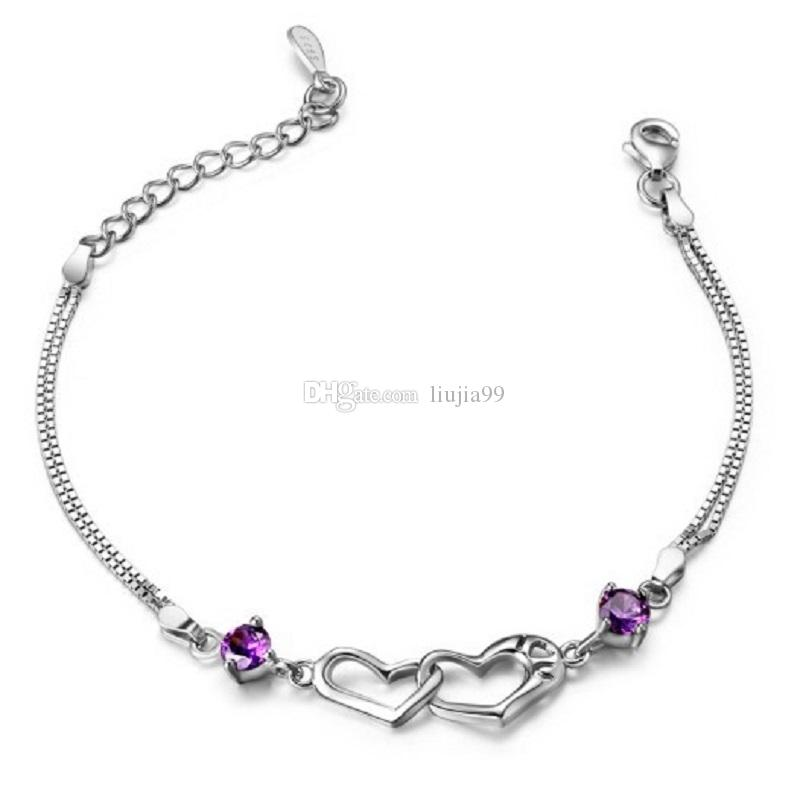 Female models happiness signal double heart female bracelet European and American jewelry fashion beautiful woman's hand jewelry DHL free sh