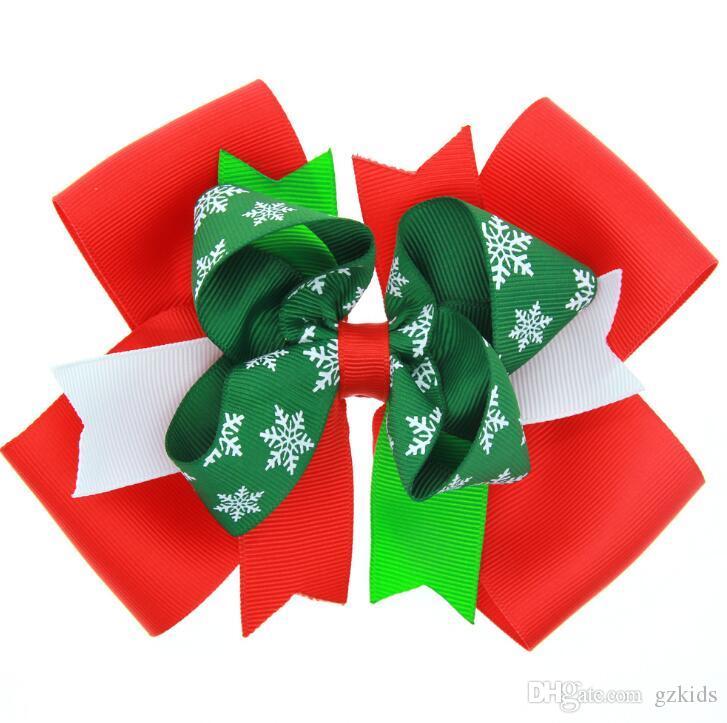 12 Styles Baby Bow Hair Clips Christmas Grosgrain Ribbon Bows WITH Clip Snow Baby Girl Pinwheel Hairpins Xmas Hair Pin Accessories