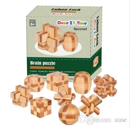 9pcs / lot 3D respetuoso del medio ambiente de bambú juguetes de madera IQ cerebro teaser rebabas adultos rompecabezas educativos niños desbloqueo de juegos