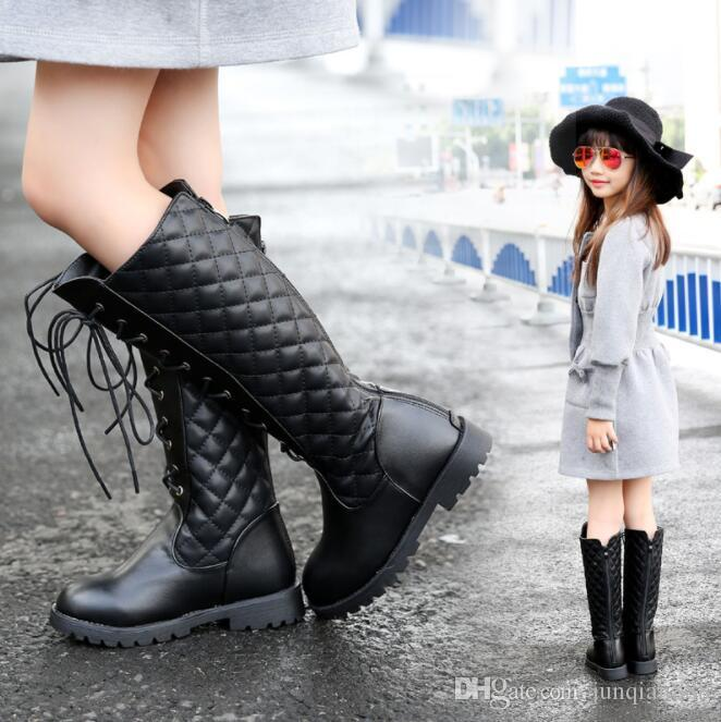 Childrens Snow Boots 2018 Autumn And Winter New Plus Velvet Girls Boots  Kids Shoes High Boots Cute Boots For Kids Girls Black Leather Boots From