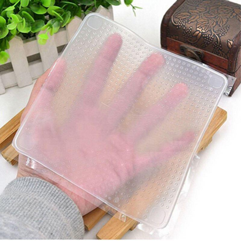 Stretch-and-Fresh-Silicone-Kitchen-Tools-Clear-Seal-Cover-Multifunctional-Saran-Wrap-4Pcs