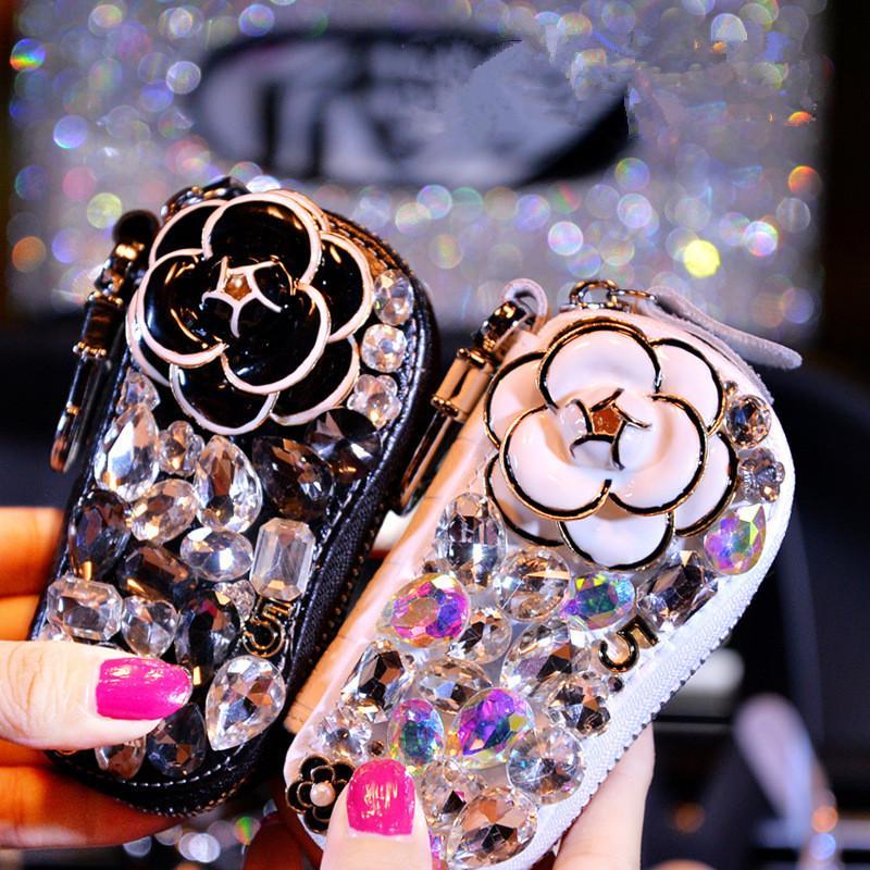 Belo Luxo De Cristal De Couro Chave Do Carro Caso Preto Flor Branca Decoração Auto Chave Caso Dom Titulares Governanta Saco Anéis Presente