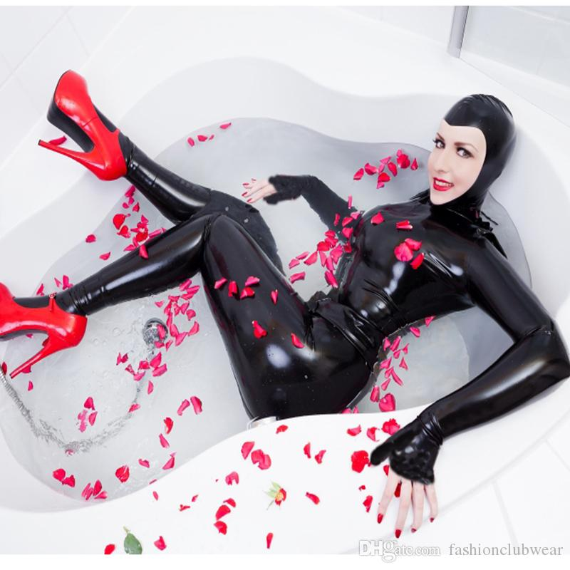 Hot Sexy femmes Faux Lether Noir Catsuit Bodystockings Bodysuit Full Body Zentai Costumes Catwoman Party Fantaisie Clubwear
